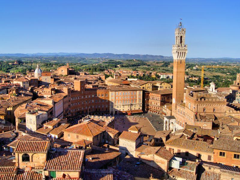 Siena plein toren stad