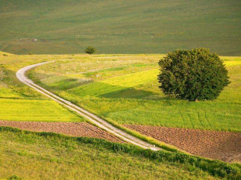 Umbrië landschap grasvelden